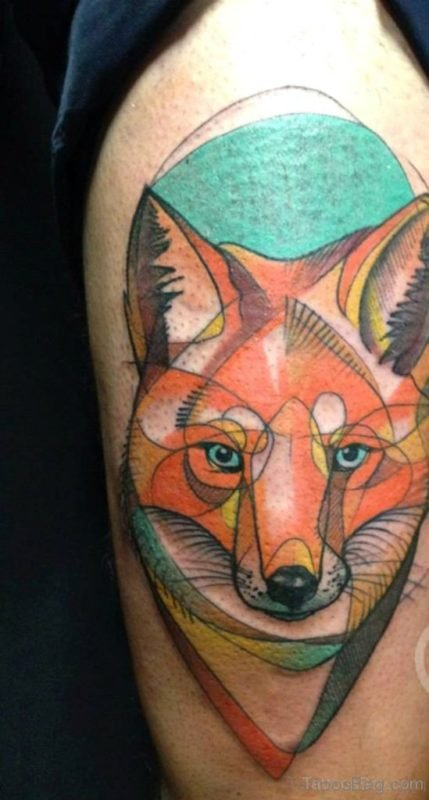 Colored Fox Tattoo Design On Shoulder