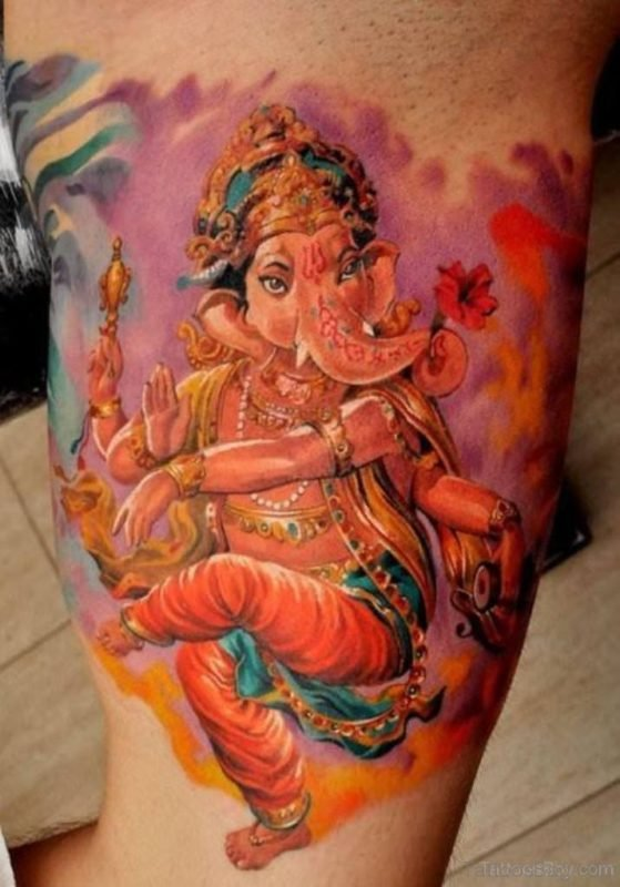 Colored Ganesha Tattoo Design On Shoulder