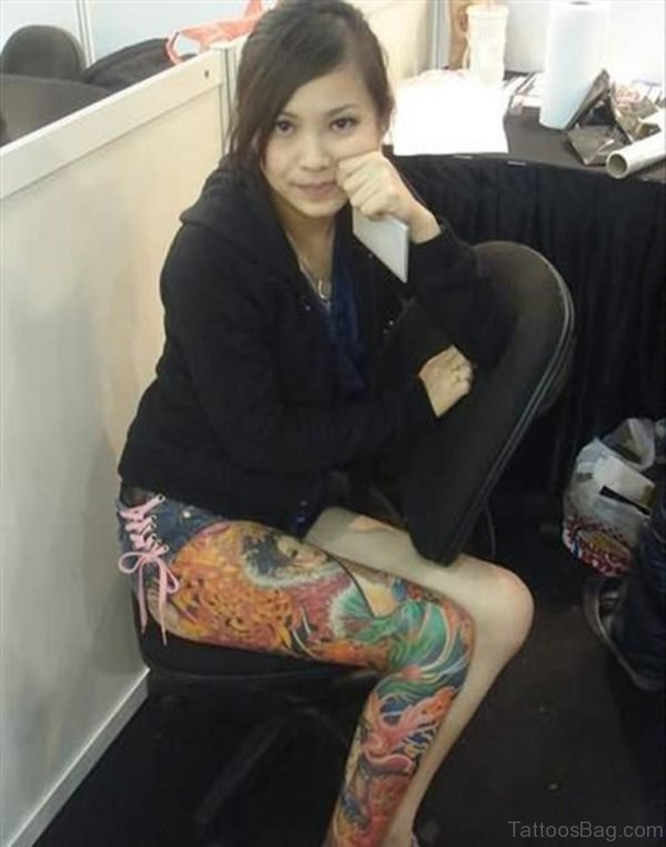 Colored Geisha Right Thigh Tattoo For Girls