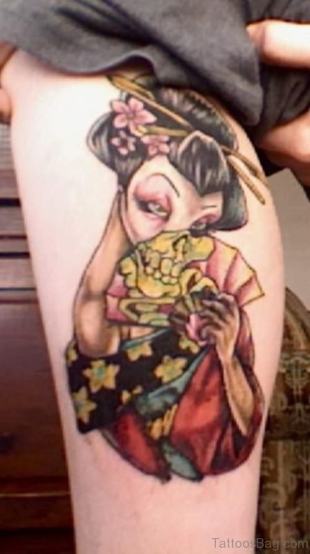 Colored Geisha Tattoo