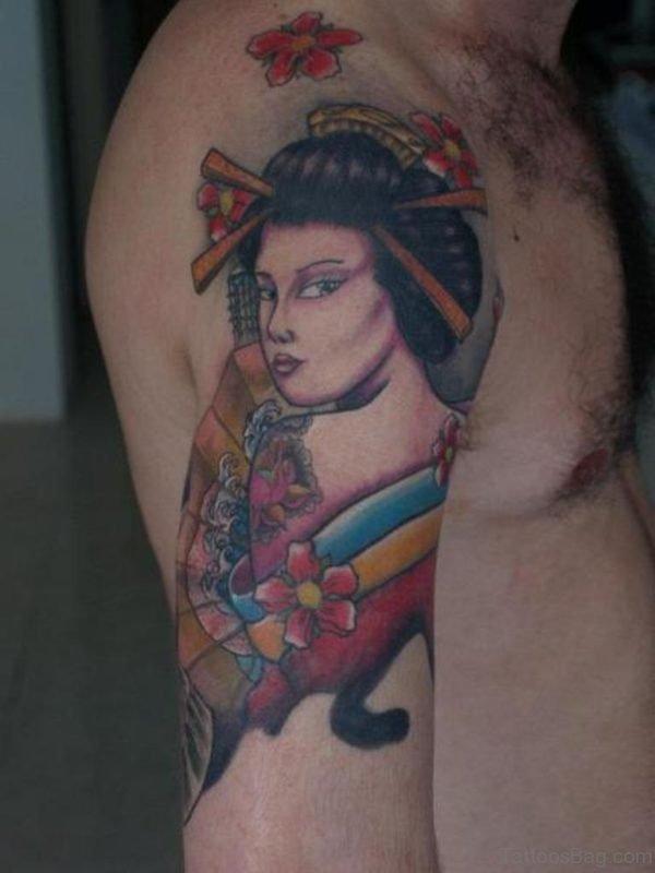 Colored Geisha Tattoo