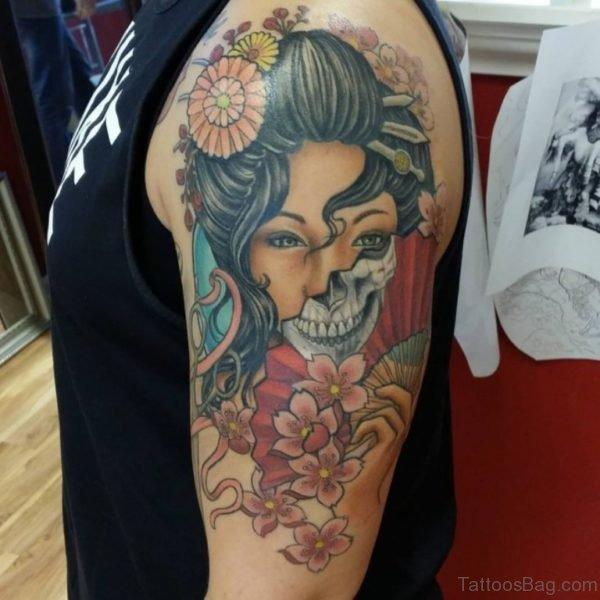 Colored Geisha Tattoo Design