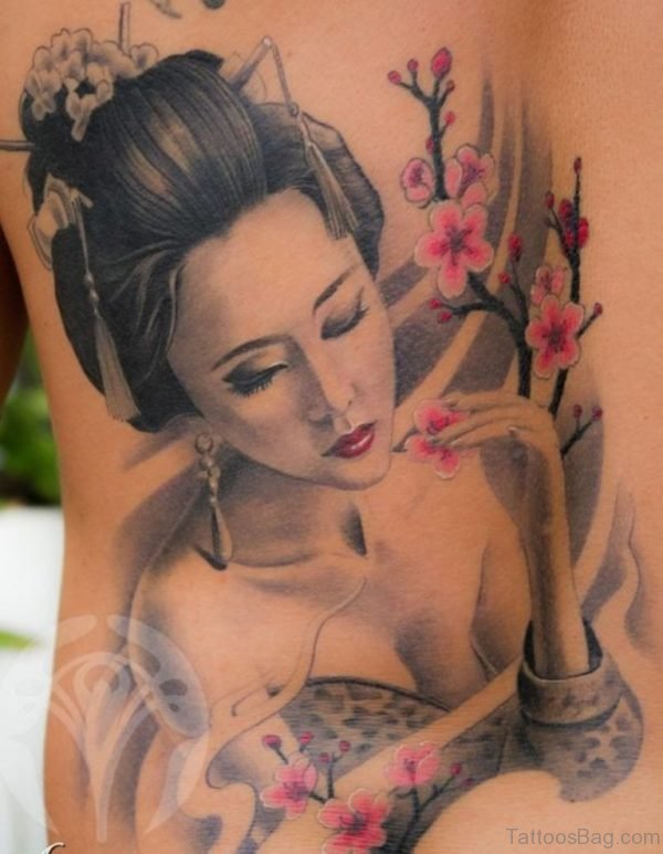 Colored Geisha Tattoo Design