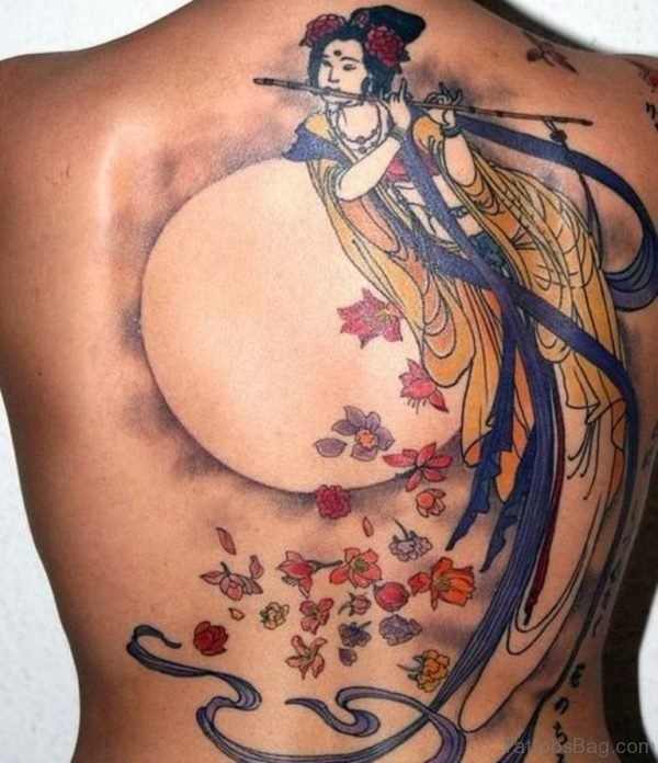 Colored Geisha Tattoo On Back