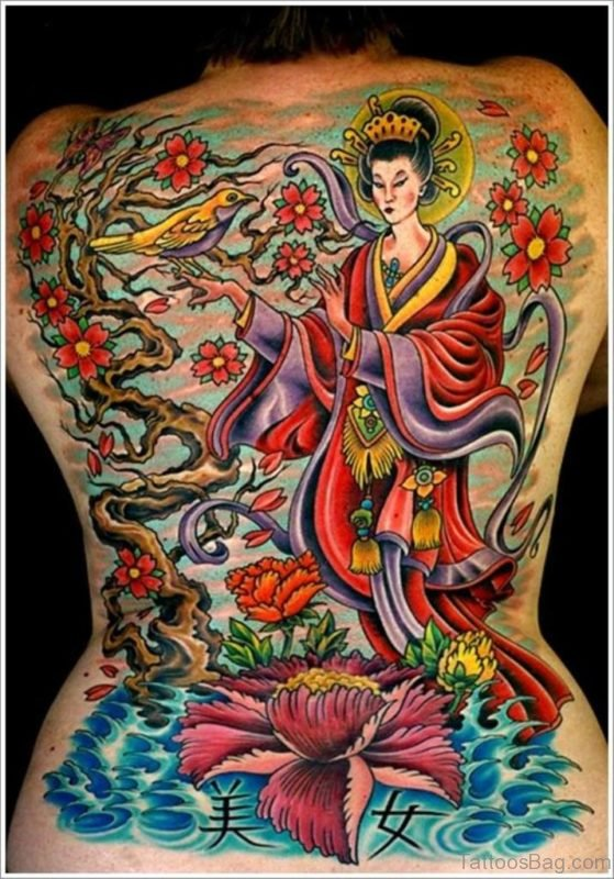 Colored Geisha Tattoo On Back Image