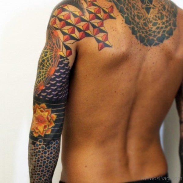 Colored Geometric Designer Tattoo