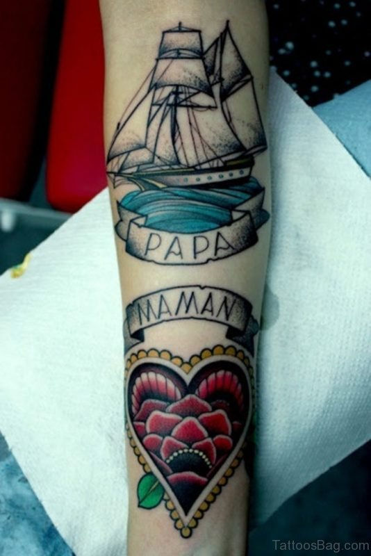 Colored Heart And Papa Tattoo