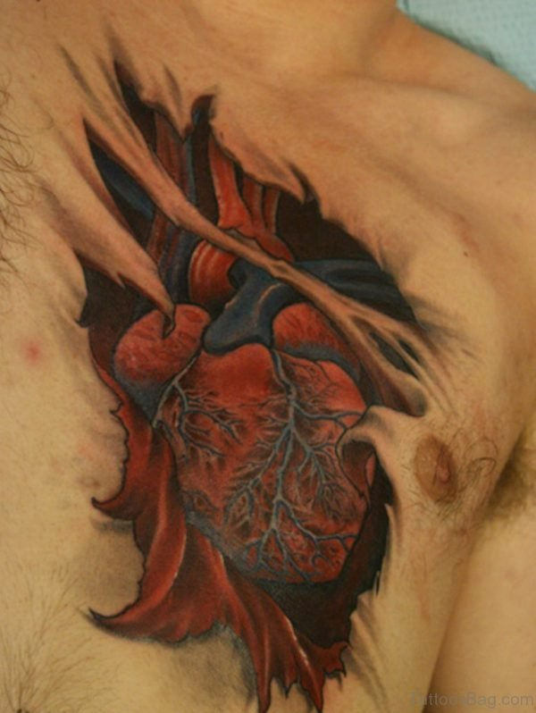 Colored Heart Tattoo On Chest