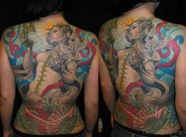 Colored Ink Geisha Girl With Dove Tattoo On Back