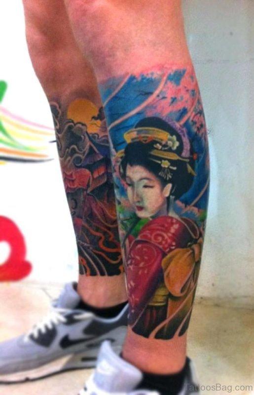 Colored Ink Geisha Tattoo On Leg