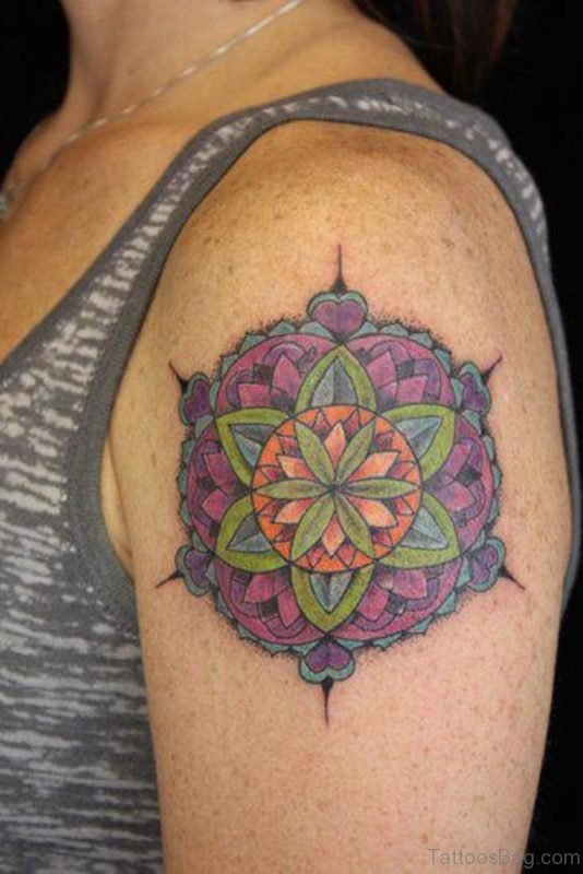 Colored Ink Mandala Tattoo