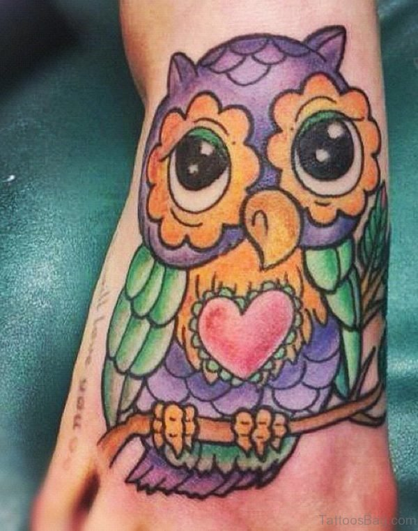 Colored Ink Owl Tattoo