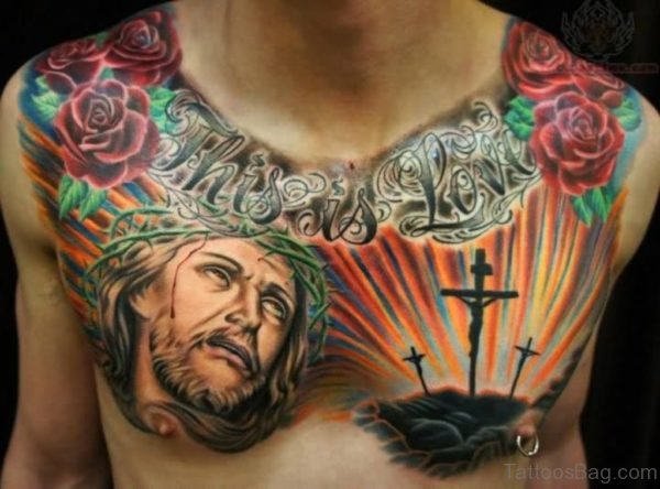 Colored Jesus And Cross Tattoo