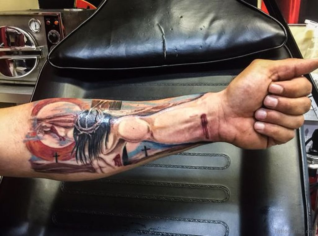 b1b94a7ff 72 Great Looking Jesus Tattoos For Arm