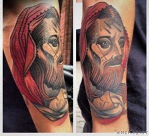 Colored Jesus Tattoo On Arm