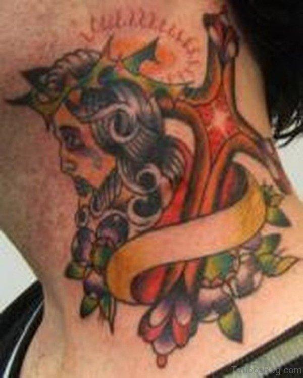 Colored Jesus Tattoo On Neck