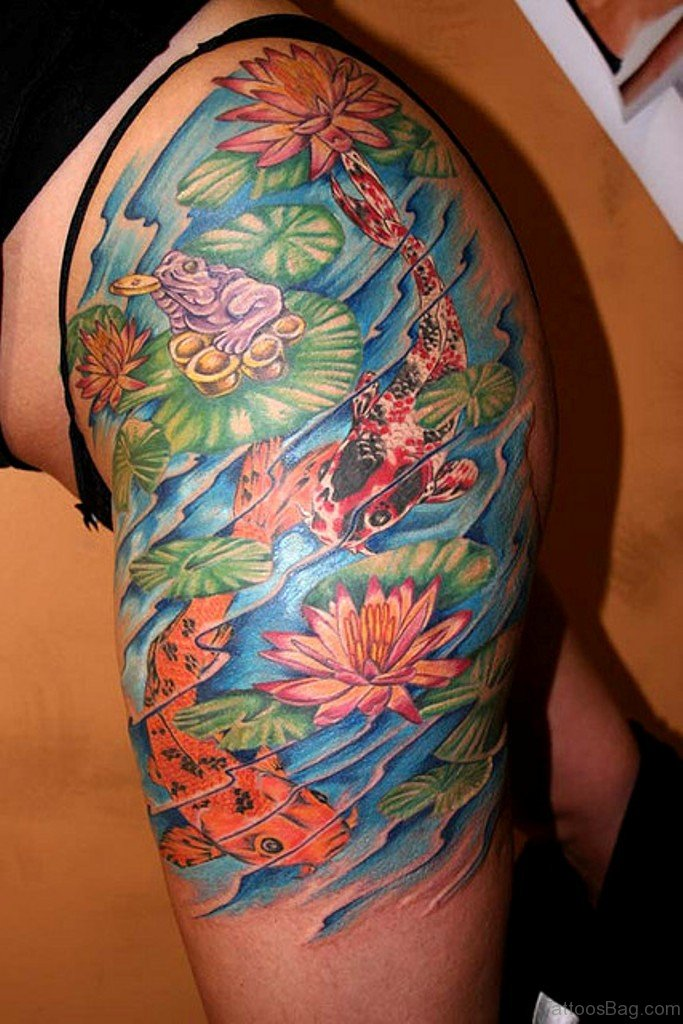 57 ultimate fish tattoos for thigh for Koi pond tattoo