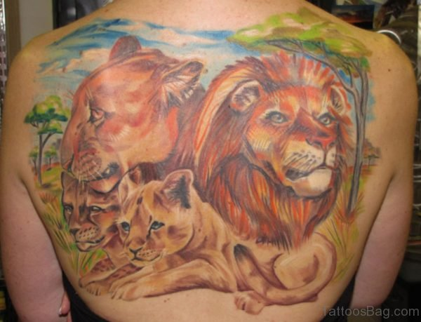 Colored Lion Family Tattoo On Back
