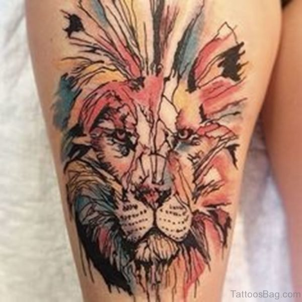 Colored Lion Tattoo