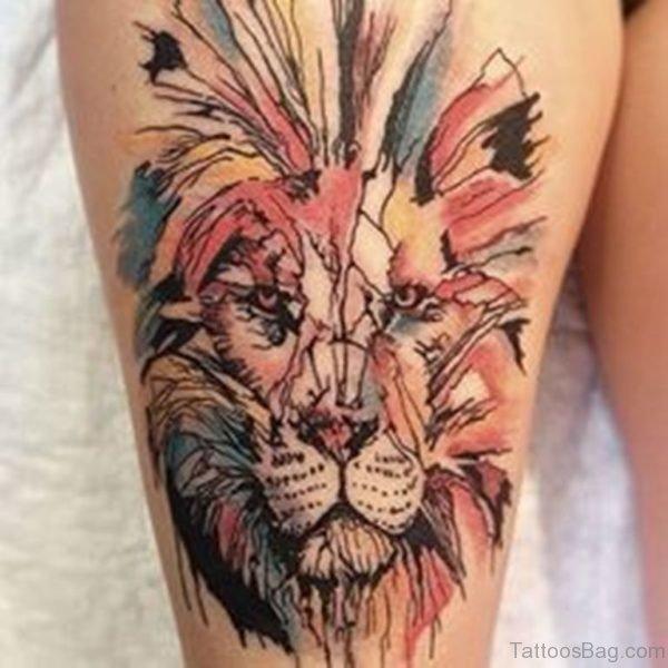Colored Lion Tattoo