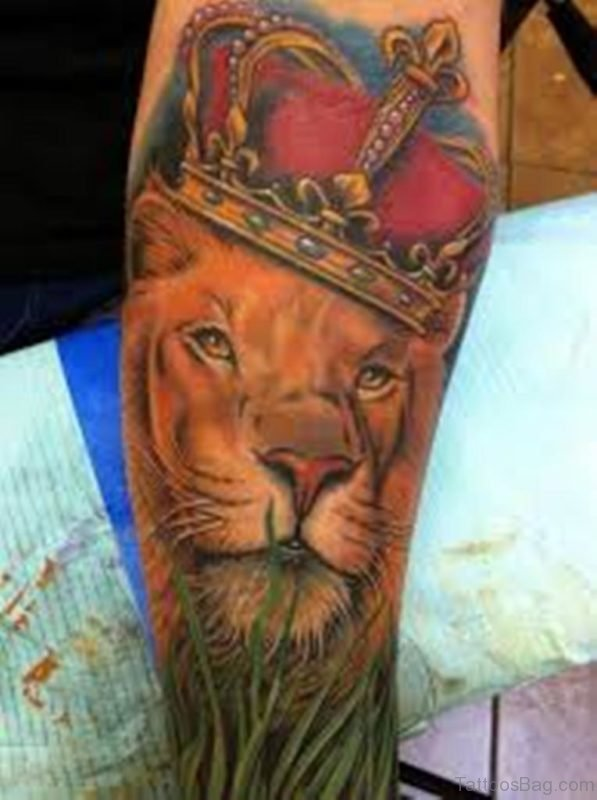 Colored Lion Tattoo On Leg