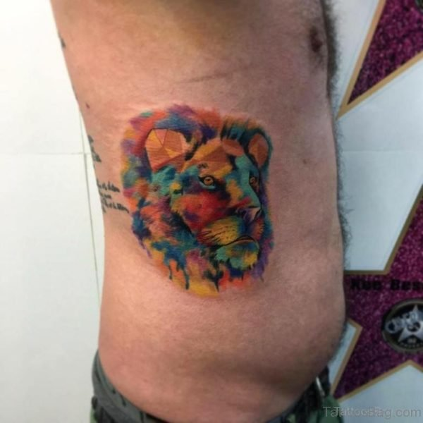 Colored Lion Tattoo On Rib