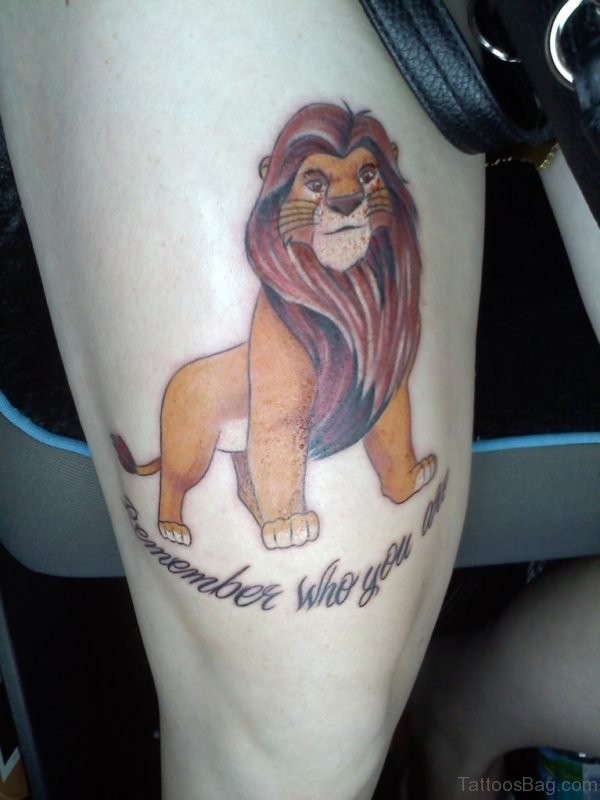 Colored Lion Tattoo On Thigh