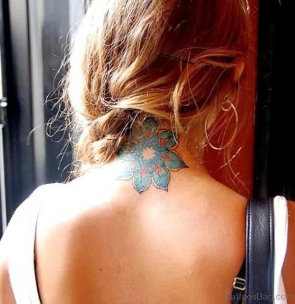 Colored Lotus Neck Tattoo Design