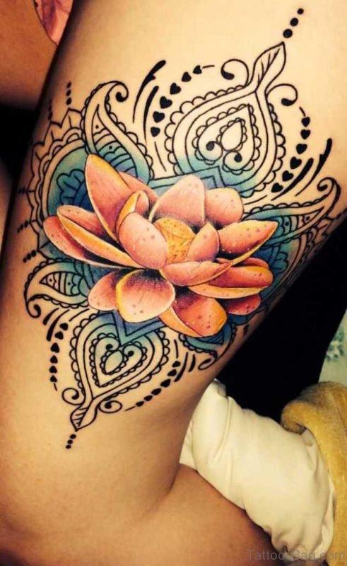 Colored Lotus Tattoo On Thigih