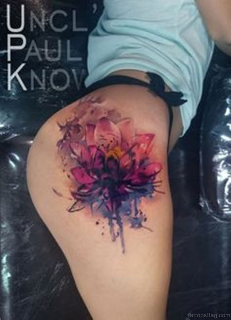 45 Best Lotus Flowers Tattoos On Thigh