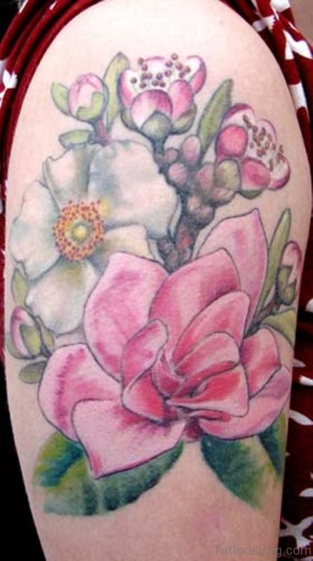 Colored Magnolia Flowers Tattoo