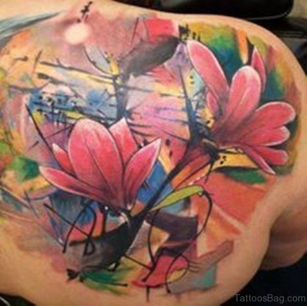 Colored Magnolia Tattoo