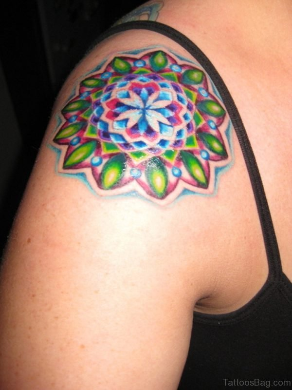 Colored Mandala Tattoo On Shoulder Image