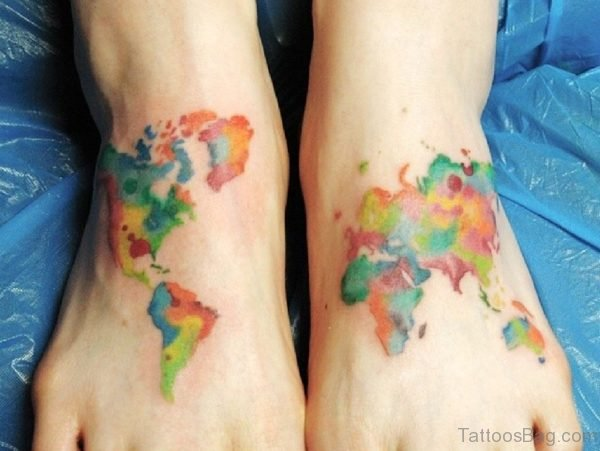 Colored Map Tattoo