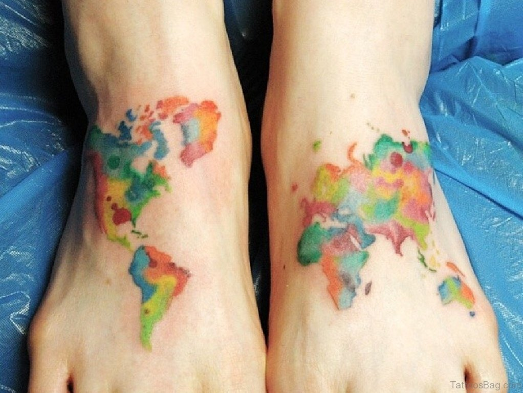 47 incredible map tattoos for foot colored map tattoo gumiabroncs Choice Image