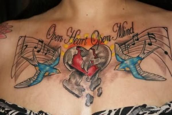 Colored Music Tattoo On Chest