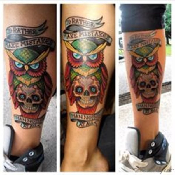 Colored Owl And Skull Tattoo