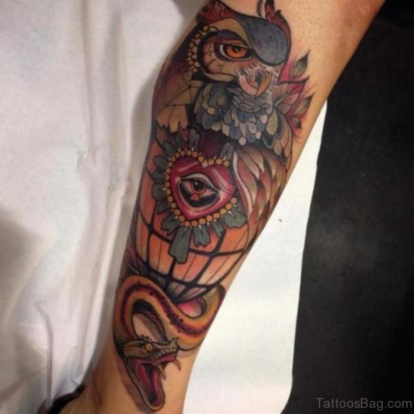 Colored Owl Tattoo Design For Leg