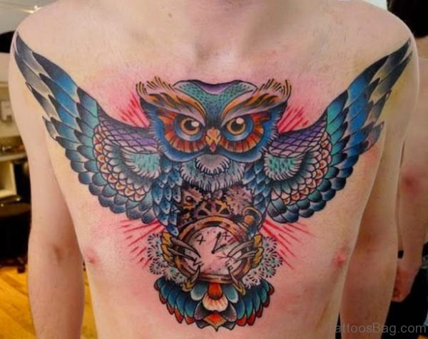 Colored Owl Tattoo Design On Chest