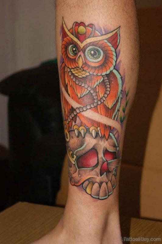 Colored Owl Tattoo For Leg