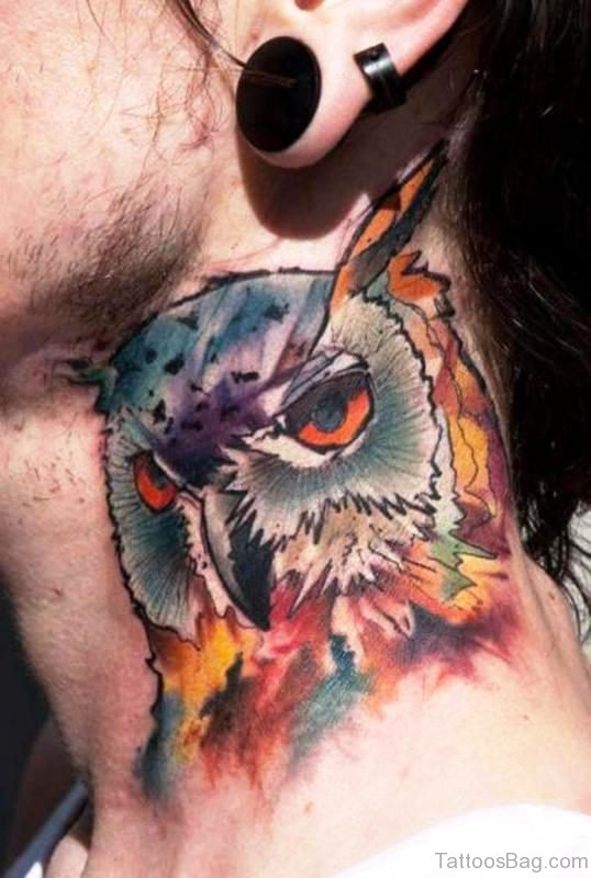 Colored Owl Tattoo For Men