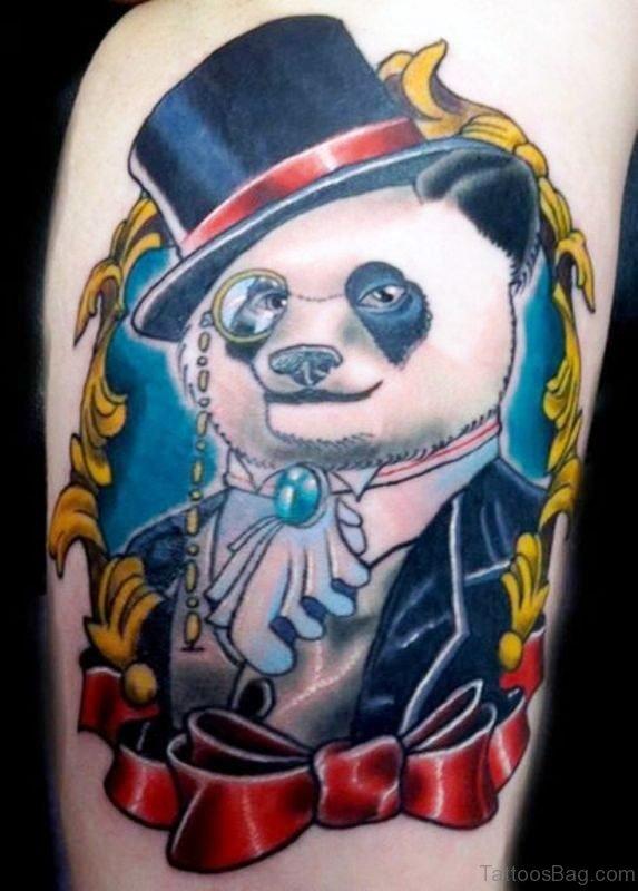 Colored Panda Shoulder Tattoo Design
