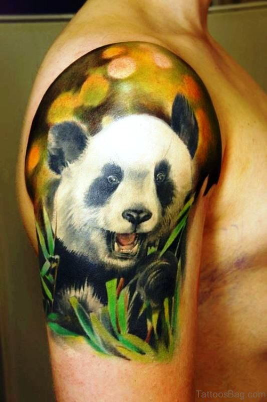 Colored Panda Shoulder Tattoo