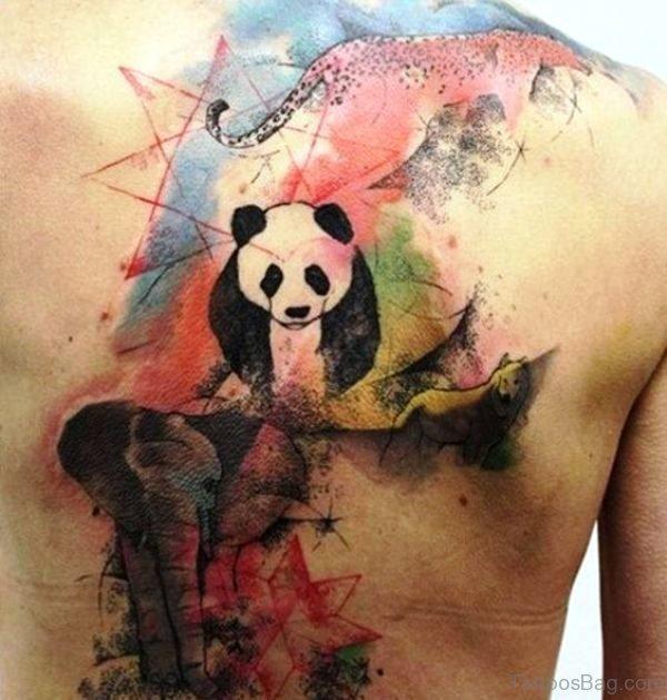 Colored Panda Tattoo Design
