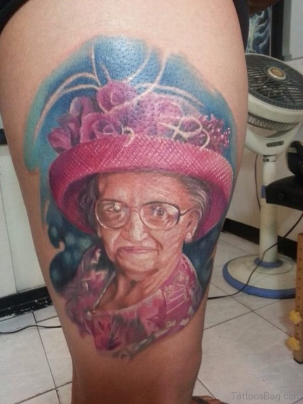 Colored Portrait Tattoo On Thigh