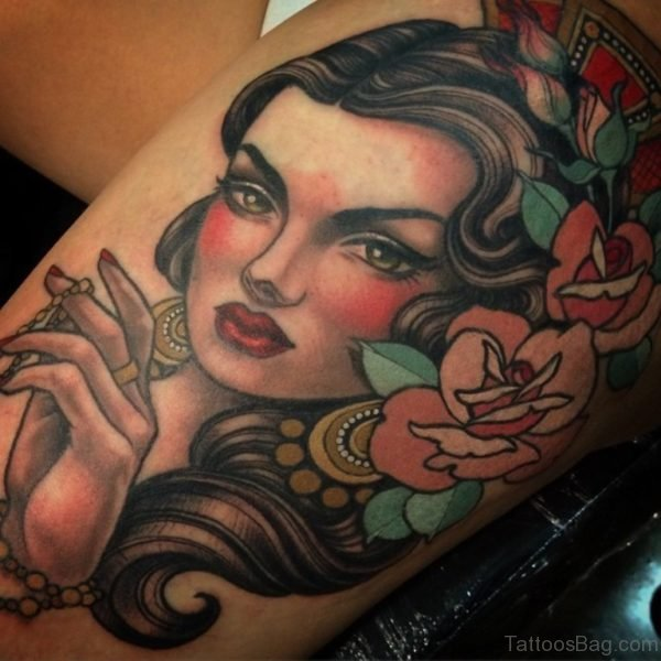 Colored Rose And Portrait Tattoo For Thigh