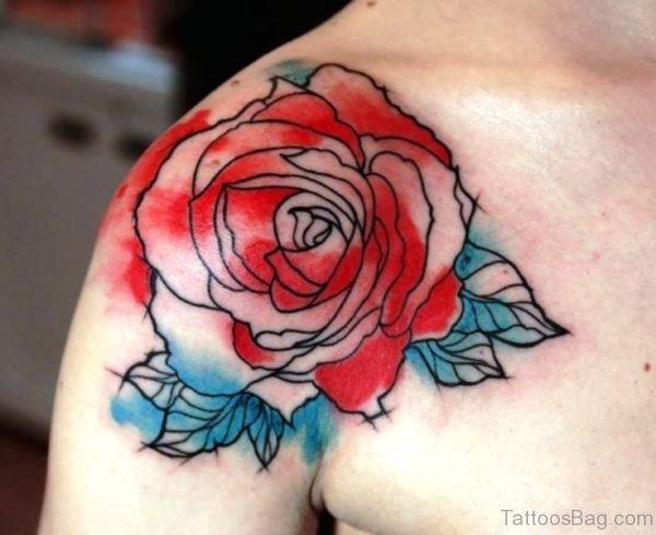 Colored Rose Tattoo On Shoulder