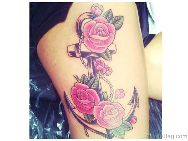 Colored Rose and Anchor Tattoo