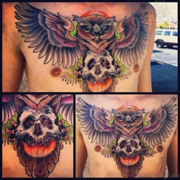 Colored Skull And Owl Tattoo