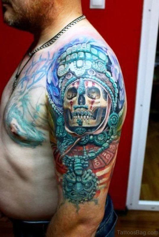 Colored Skull Aztec Tattoo On Shoulder